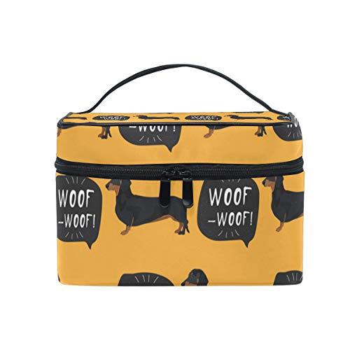 Neceser de maquillaje, diseño de perro salchicha con cremallera