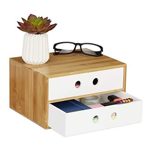 Relaxdays Organizador de Escritorio con 2 cajones, bambú y MDF, 14 x 25 x 20 cm, Color Blanco, 1 Unidad