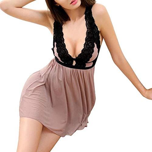 TDYSDYN Ropa de Dormir Conjunto Sexy Transparente Lingerie,Ropa de Dormir de satén de Encaje Sexy Babydoll Disfraces eróticos-Style3-skin_XL,Pijama Mujer Sexy Verano Algodón