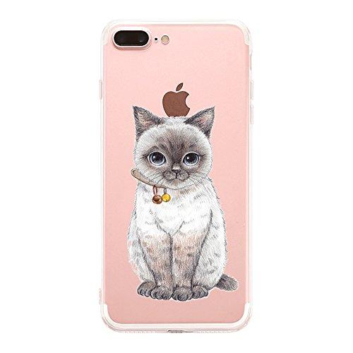 AIsoar Pappagallo Style - Cover iPhone 8 Plus Silicone Custodia Protettiva per iPhone 7 Plus 8 Plus, Cover Pappagallo Custodia Ultra Slim Transparent Trasparente Antiurto (Gatto)