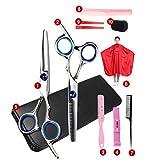 Leikance Kit profesional de corte de pelo, tijeras, kit de peluquería con peines de corte de capa de adelgazamiento de 11 piezas/set