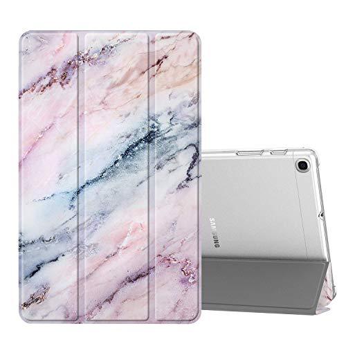 FINTIE Funda Compatible con Samsung Galaxy Tab A 10.1 2019 - Trasera Transparente Mate Carcasa Ligera con Función de Soporte para Modelo de SM-T510/T515, Mármol Rosa