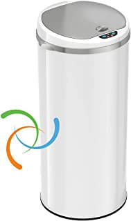 iTouchless 13 Gallon Touchless Sensor Trash Can with Odor Filter System, Round White Steel Garbage Bin, for Home, Kitchen