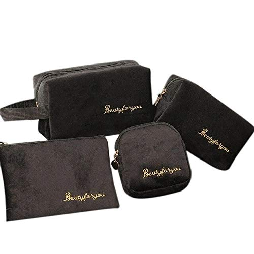 Black Beau-4pcs/set bolsa de cosméticos de negocios de maquillaje de las mujeres de viaje maquillaje organizador de cremallera bolsa de almacenamiento de artículos de aseo lavado kit de baño