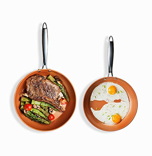 """Gotham Steel Hard Anodized Fry Pan Premium Skillet Set with Ultimate Nonstick Ceramic & Titanium Coating, Induction Capable, Oven and Dishwasher Safe, 9.75""""+11.3"""", Brown"""