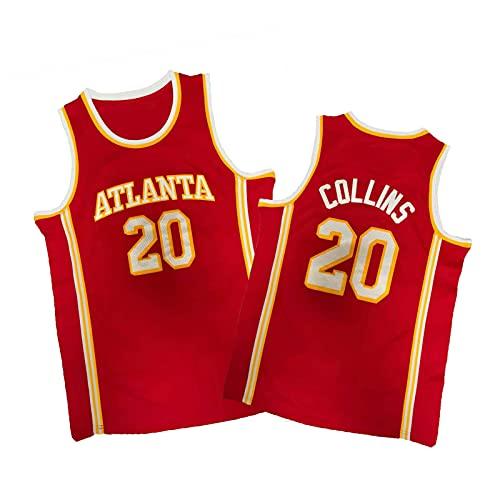 ZMQO Háwks 20# Cólínes Camisetas de Baloncesto para Hombres y Mujeres, Malla Bordada, Secado rápido, Cuello en v-XXL Red-L