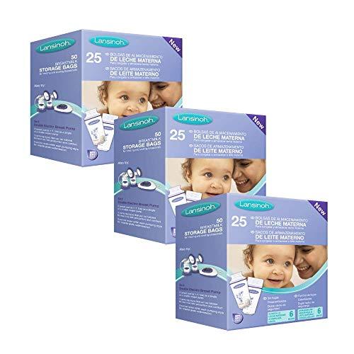 Bolsas de almacenamiento de leche materna de Lansinoh. Guarda y conserva la leche materna extraída. 3 packs de 25 unidades cada uno