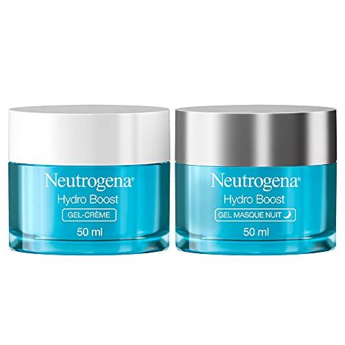 Neutrogena Hydro Boost Duo Crème Jour Hydratant Visage et Crème de Nuit à l'Acide Hyaluronique, Soin Visage, 2x50 ml
