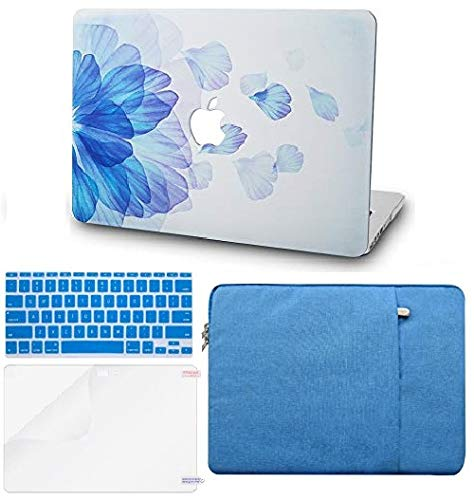 """KECC Laptop Case Compatible with MacBook Pro 13"""" (2020/2019/2018/2017/2016, Touch Bar) w/Keyboard Cover + Sleeve + Screen Protector Hard Shell A2159/A1989/A1706/A1708 (Blue Flower)"""