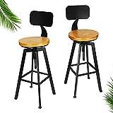 2 taburetes de bar de madera, estilo industrial, retro, con respaldo, 65 – 85 cm, ideales para decoración moderna y rústica