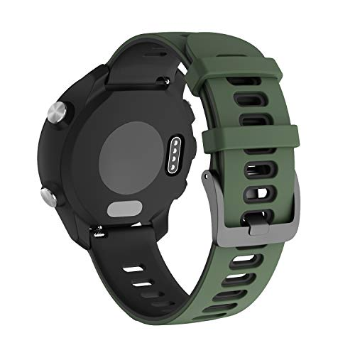 NotoCity per Garmin Vivoactive 3 Cinturino, 20mm Cinturino di Ricambio in Silicone per Samsung Galaxy Active 2 /Gear Sport/Galaxy Watch 42mm/ Garmin Forerunner 645/245(Esercito Verde-Nero)