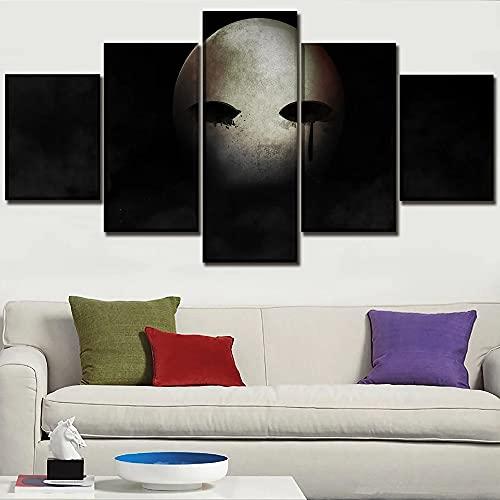 GUANGWEI Impresión En Lienzo Póster HD 5 Combinación De Pintura Colgante Póster del Juego Máscara De Dark Souls II Marco De Dibujo Decorativo del Paisaje del Regalo del Arte De La Pared del Hogar