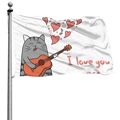 Mesllings - Banderas decoradas (120 x 180 cm), diseño de gato con palabras en inglés