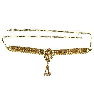 Memoir Brass Gold Plated, Golden CZ, with Golden Faux Pearls, Broad, Waist Belt, Belly Chain, Kamar patta, Traditional Kamarband Women Wedding Jewellery Latest