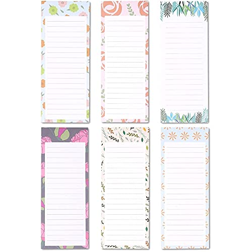 Floral Magnetic Notepads for Refrigerator, 60 Sheets Each (3.5 x 9 In, 6 Pack)
