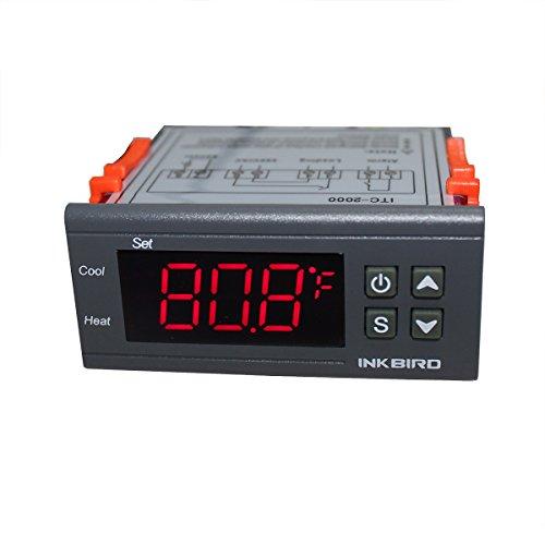 Inkbird ITC-2000 Doble Rele 220V Refrigeración o Calefacción Termostato Digital con Sonda para Calentador de Agua,Incubadora,Bomba Calefaccion Acuario,Ventilador,1 Relé del Dispositivo Alarma