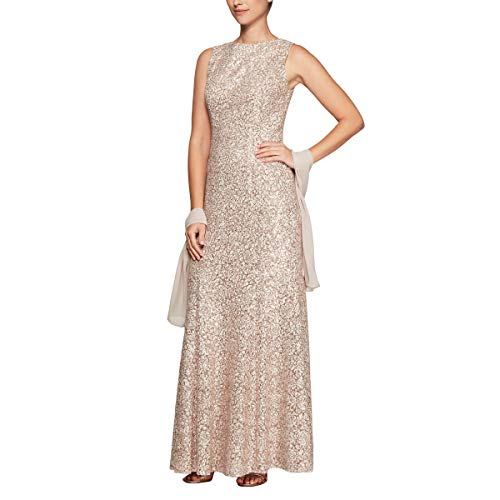 Alex Evenings Women's Long Sleeveless Dress with Shawl, Champagne/Ivory, 16 (Apparel)