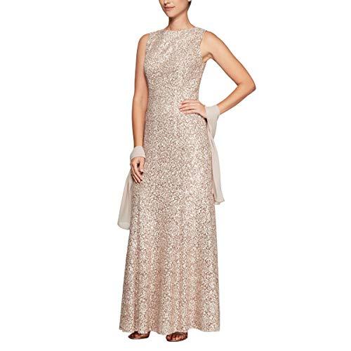 Alex Evenings Women's Long Sleeveless Dress with Shawl, Champagne/Ivory, 4