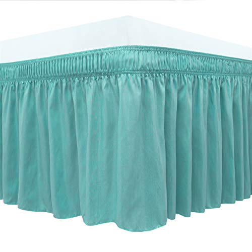Biscaynebay Wrap Around Bedskirts Elastic Dust Ruffles, Easy Fit Wrinkle and Fade Resistant Silky Luxrious Fabric Solid Color, Aqua for Full, Full XL, Twin and Twin XL Size Beds 15 Inches Drop