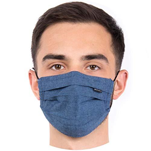Hochwertige Sommermaske - Atmungsaktiv | Viele Farben | 90° wasch- kochbar | 1-lagig 100% BW | bequemer anpassbarer Gummi | Nasenbügel | Stoffmaske | Behelfsmaske | Mundschutz (Denim-meliert)