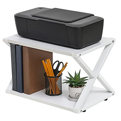 FITUEYES Supporto per Stampante Legno Bianco 2 Ripiani X Structure Organizer da Scrivania per Ufficio e Casa 45.5x30.3x29.7cm DO204505WW