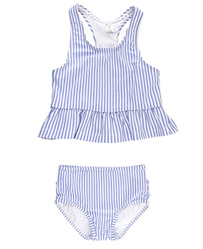 RuffleButts Baby/Toddler Girls Periwinkle Blue Seersucker Peplum Tankini w/Ruffled Bottoms - 12-18m