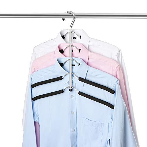 ZriEy Perchas, Perchas de Metal Ahorro de Espacio, 5 en 1 Multilátera Perchas EVA Esponja Antideslizante Multiusos para Adultos Pantalones Vaqueros Pantalones Abrigos