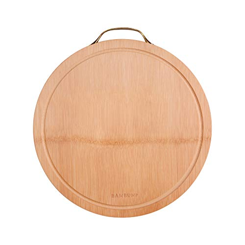 BAMBUMI hochwertiges Bambus Schneidebrett rund Ø33x2,8cm, Schnittfläche aus einem Stück Bambusholz, 100% nachhaltige Produkt, Küchenbrett mit Saftrille u. Griffen aus Edelstahl