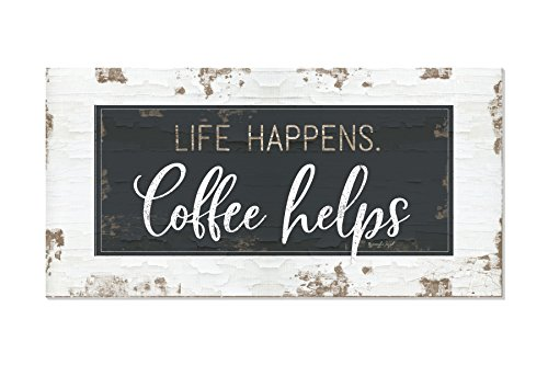 Life Happens Coffee Helps Rustic Wood Wall Sign 9x18 (9x18)