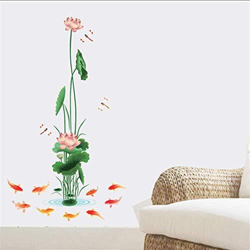 Muursticker Home Green Plant Lotus muursticker roze bloemen lotusblad karper woonkamer badkamer decor afneembaar vinyl waterdicht stickers