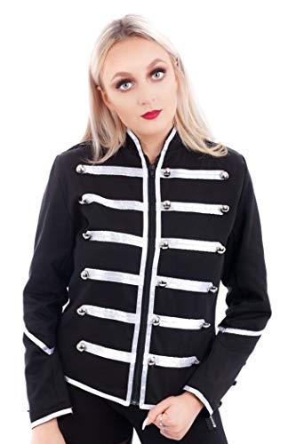 Ro Rox Women's Ladies Steampunk Military Punk Parade Jacket (US 14, Silver)