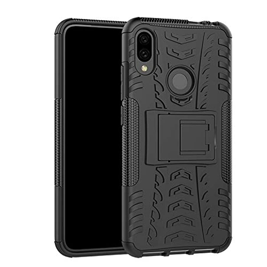 Xiaomi Redmi Note 7 Case, Redmi Note 7 Pro Shockproof Heavy Duty Combo Hybrid Rugged Dual Layer Armor with Kickstand Grip Case Cover for Xiaomi Redmi Note 7 (Black)