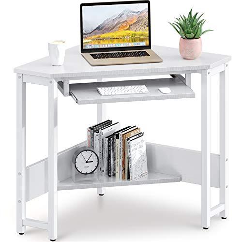 ODK Corner Desk, Triangle Computer Desk, Sturdy Steel Frame for Workstation with Smooth Keyboard Tray & Storage Shelves, White