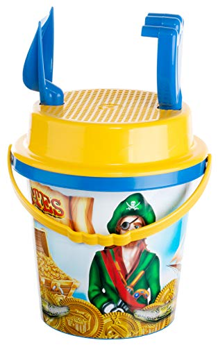 Brandsseller Sandspielzeug Set Pirat 6 teilig Strandspielzeug - Kinderspielzeug - 2 Förmchen - Eimer - Sieb - Schaufel - Harke