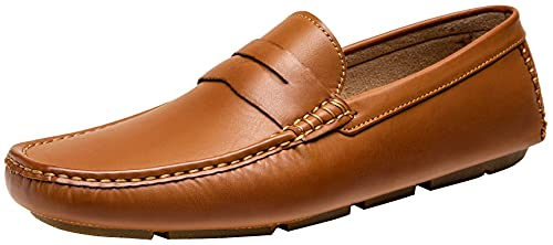 Jousen Men's Loafers Casual Slip On Shoes Soft Penny Loafers for Men Lightweight Driving Boat Shoes (AMY802A Brown 11)