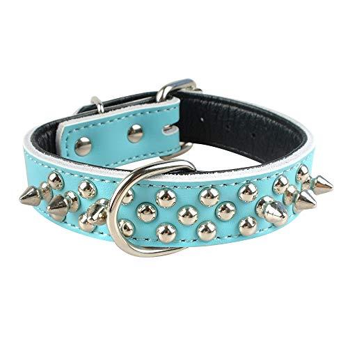 WWHPVP Collar De Cuero para Perros, Collar De Mascotas para Perros Relleno Suave Moldeado para Pequeños Perros Medianos S M L para Trapeadores De Bulldog Francés,Blau,36~46cm