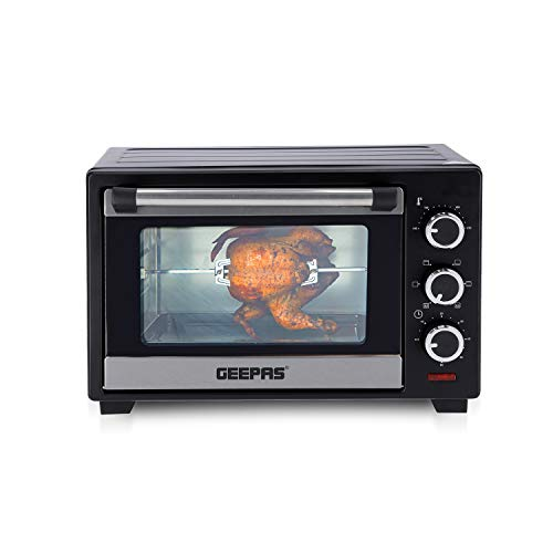Geepas 19L Mini Oven and Grill – 1280W Countertop Electric Cooker with Rotisserie & 60 Mins Timer | 6 Selectors for Baking, Roasting & Grilling | Baking Tray & Wire Rack, Double Glass Door