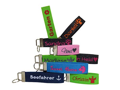 Schlüsselanhänger mit Name oder Spruch personalisiert - individuell bestickt - Filzanhänger Geschenk Glücksbringer Einschulung Schulanfang