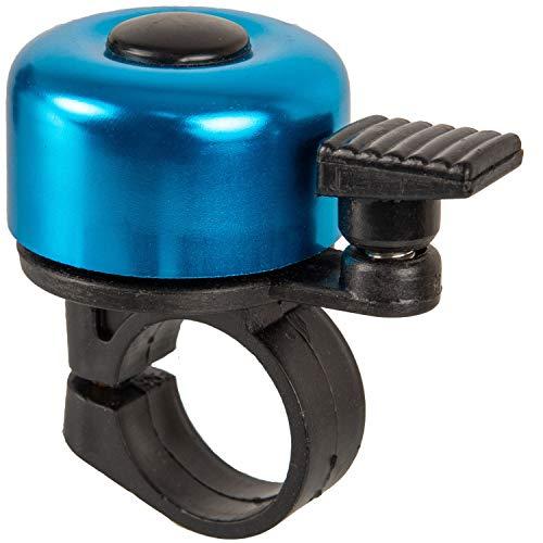 Fahrradklingel in blau, laut und klar, für Ø 21 mm - Ø 25 mm Lenkstangen, mit Schraube zum Befestigen, Fahrradglocke, universal für alle Fahrräder, Fahrrad Klingel, Fahrrad Hupe klein, Fahrradzubehör