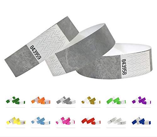500 Eintrittsbänder aus Tyvek, SILVER - SILBER - Party Einlassbänder, Securebänder, Festival Armbänder, Kontrollbänder für dein Event