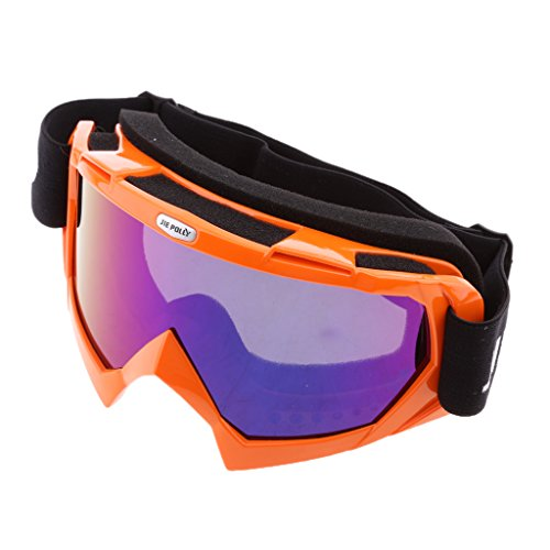 MagiDeal Moto Motocross Racing Lunettes Ski Sknowboard Coupe-vent Mode Sport Hiver - Orange, Taille Unique