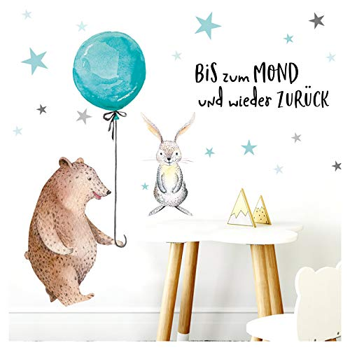 Little Deco Aufkleber Bär mit Luftballon I S - 59 x 41 cm (BxH) I Wandbilder Wandtattoo Kinderzimmer Mädchen Deko Babyzimmer Junge Kinderbilder Sticker DL192