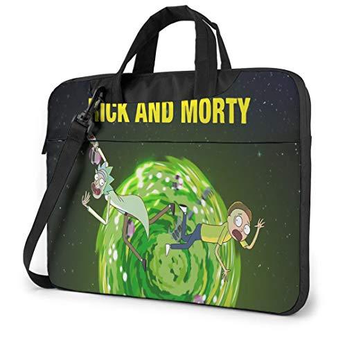 14 Inch Laptop Bag Rick & Morty Tablet Shoulder Bag Carrying Case with Strap, Laptop Sleeve Work Bag for Women and Men, Morty Smith Portal Rick Sanchez
