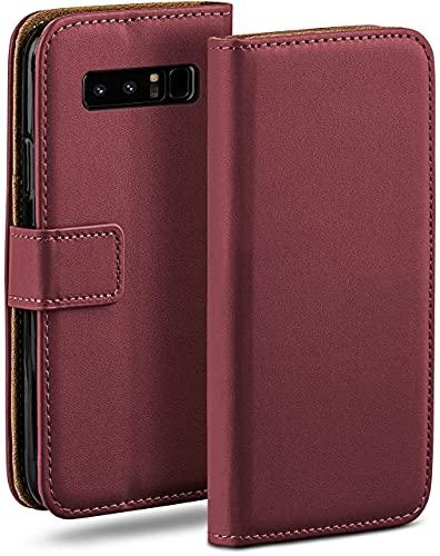 moex Klapphülle kompatibel mit Samsung Galaxy Note8 Hülle klappbar, Handyhülle mit Kartenfach, 360 Grad Flip Hülle, Vegan Leder Handytasche, Weinrot
