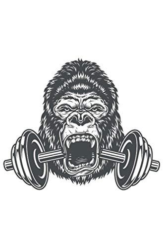 Gorilla mit Hantel für Muskel Sport Kraftsport: DIN A5 Kariert 120 Seiten / 60 Blätter Notizbuch Notizheft Notiz-Block Fitness Gym Workout Training Fitnessstudio Motive