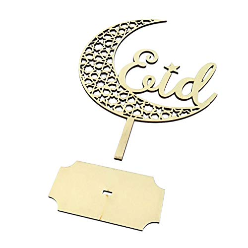 FKY Houten holle maanvorm moslemische eid mubarak versiering uitgangdecoratie DIY gemaakt plaatje voor Ramadan activiteiten