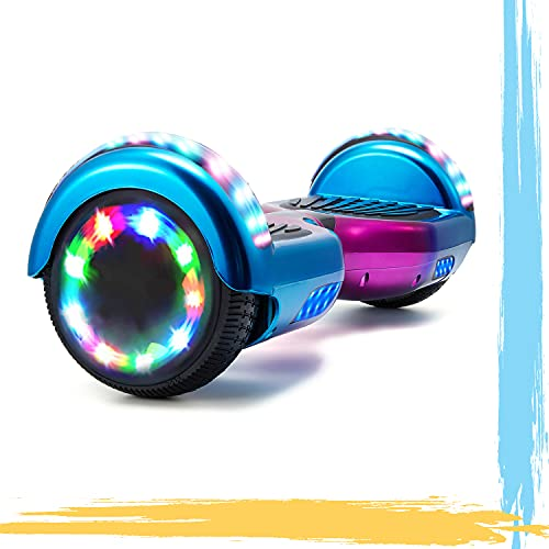 HST 6.5   Hoverboard Patinetes de Acrobacias Patinete Eléctrico Bluetooth Monopatín Scooter Autobalanceado, Ruedas de Skate con luz LED, Motor Bluetooth de 700W… (Chrome Azul-N)