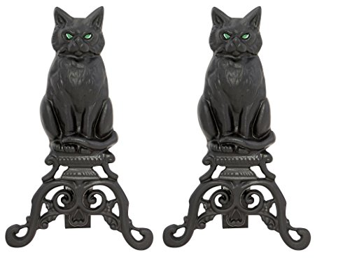 Discover Bargain Woodeze Home Decorative Outdoor Fire Place Accessorie Cat Cast Iron Andirons - Blac...