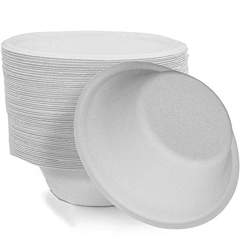 60 Disposable Paper Bowls Sugarcane Bowls, 350ml Compostable Strong Bagasse Bowls Perfect Biodegradable and Recyclable for Parties