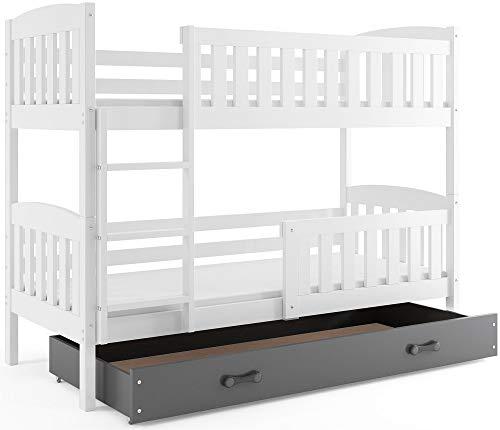Interbeds Etagenbett QUBA 190x80cm Farbe: WEIß; mit Matratzen und Lattenroste (weiß + graue Schublade)